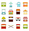 street food truck icons set in flat style vector image