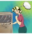 pop art of pretty housewife in vector image
