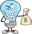Light bulb with money bag vector image vector image
