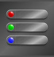 red green blue button on realistic metallic vector image