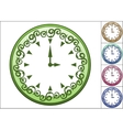Simple wall clock decorated with ornate pattern vector image