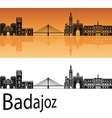 Badajoz skyline in orange background vector image vector image