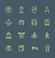 light green outline various map navigation icons vector image