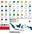 Indonesia map with flags vector image