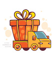 red car takes great orange gift box with vector image