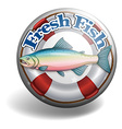 Badge of fresh fish vector image vector image