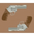 pistol handgun gun isolated revolver with wood vector image