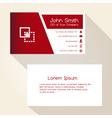simple red and white business card design eps10 vector image