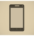 Silhouette of modern smartphone in retro style vector image vector image