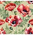 Watercolor poppy flower pattern vector image