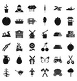 agriculture icons set simple style vector image