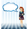 An office girl with an empty cloud template vector image