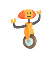 cute cartoon orange robot character on a wheel vector image
