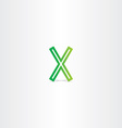 letter x green logotype symbol element vector image