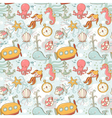 Underwater creatures cute cartoon seamless pattern vector image