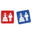 wedding couple grunge textured icon vector image