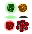 Four color magic cubes with signs isolated vector image