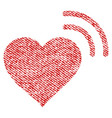 heart radio signal fabric textured icon vector image
