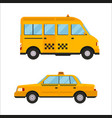 yellow taxi bus isolated car vector image vector image