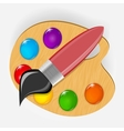 Wooden art palette with paints and brushe icon vector image vector image
