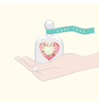 Hand giving the gift of a heart under a glass dome vector image vector image