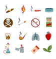 Smoking icons in flat style vector image vector image