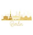 Berlin City skyline golden silhouette vector image