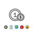 coins line icon money sign cash payment vector image