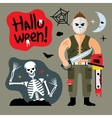 Comic Crazy maniac Halloween Scene Cartoon vector image