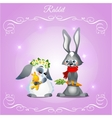 Postcard with two rabbits on a purple background vector image