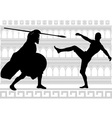 silhouettes of gladiators vector image vector image