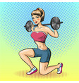 young woman with barbell vector image vector image