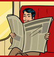 man reads newspaper in train pop art style vector image