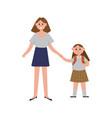 mother taking her daughter to school cartoon vector image
