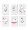 Business cards set with hand drawn stylized drinks vector image