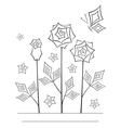 Artistic angular flower line art card vector image