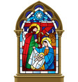 christmas stained glass window in gothic frame vector image