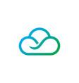 cloud line technology logo vector image