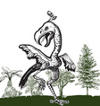 Dancing dino bird - An hand drawn vector image