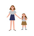 mother taking her daughter to school cartoon vector image