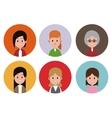 woman faces variety fashion circle icons vector image