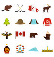 canada travel icons set in flat style vector image