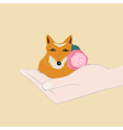 Adorable little fox with a pink flower vector image vector image