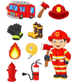 Cartoon collection of fire equipment vector image