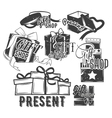set of gift boxes with bows and ribbons in vector image