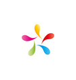 Abstract figure man logo colorful vibrant drops vector image