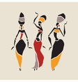 African dancers silhouette set vector image
