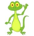 Cute green lizard cartoon waving hand vector image