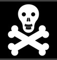 skull and bones it is the white color icon vector image