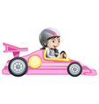 A girl riding in a pink racing car vector image